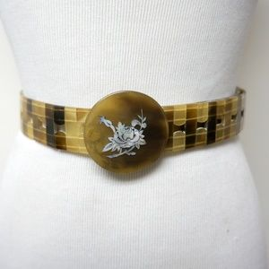 horn belt with mother of pearl floral inlay